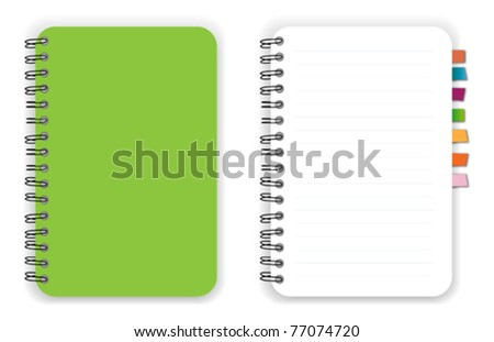Green notebook reminder - stock vector
