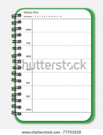 Green notebook weekly planner - stock vector