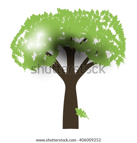 Green Oak Silhouette of a tree Vector back light - stock vector
