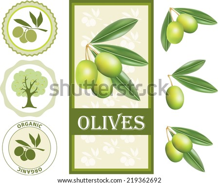 Green olive label set  - stock vector