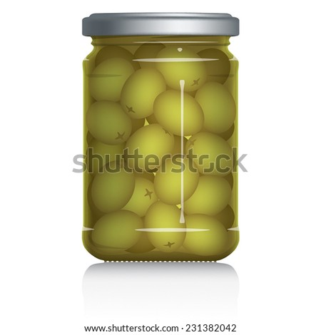 Green Olives Jar vector visual illustration, Drawn with mesh tool. Fully adjustable & scalable. - stock vector