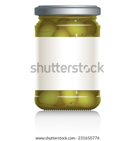 Green Olives Jar with blank white label, vector visual illustration, Drawn with mesh tool. Fully adjustable & scalable. - stock vector