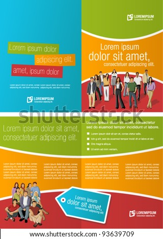 Green, orange and red template for advertising brochure with business people - stock vector