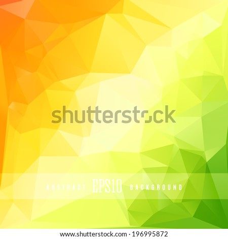 Green orange triangle colorful abstract design background template