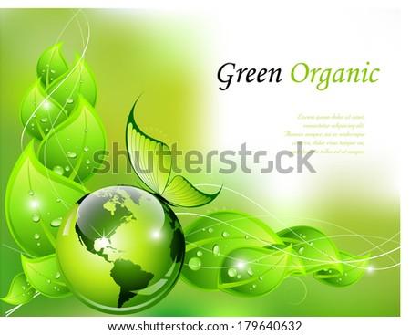 Green organic background - vector illustration - stock vector