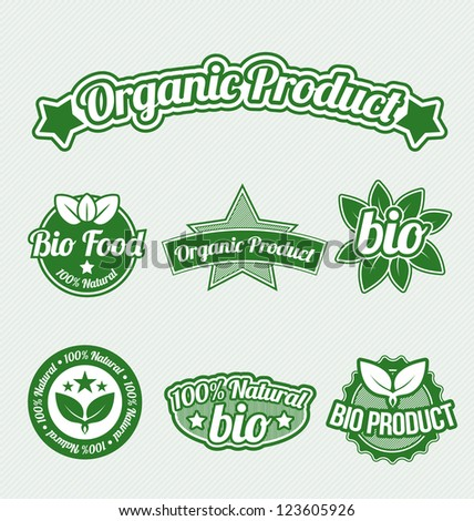 Green Organic Product Tags set