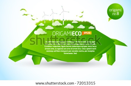 Green origami eco turtle nr. 8 - stock vector