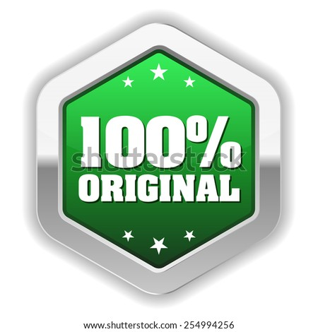 Green original badge with silver border on white background