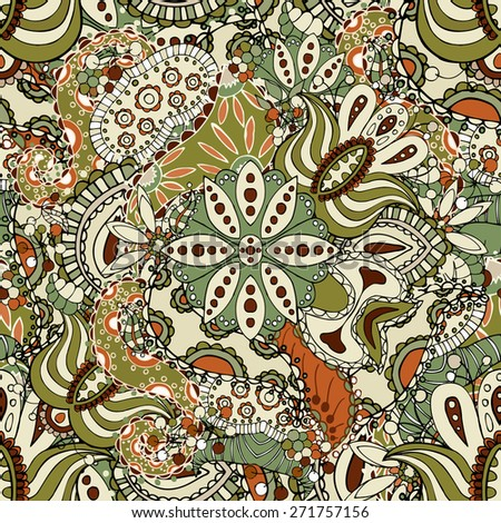 Green Paisley seamless pattern. Floral background - stock vector