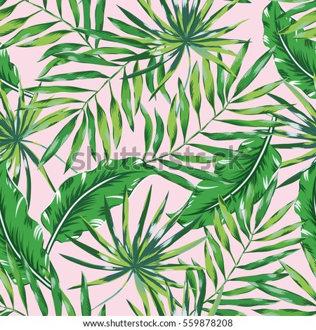 Green Palm Leaves On The Pink Background Vector Seamless Pattern Tropical Illustration Jungle