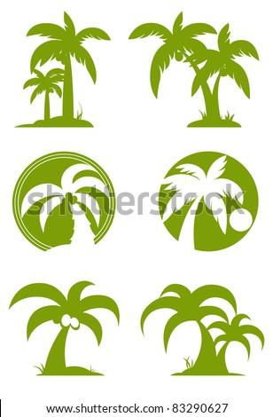 Green Palm tree set - stock vector