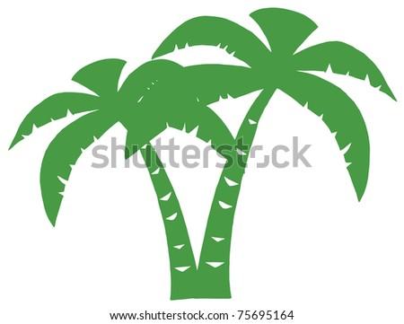 Green Palms Three Silhouette - stock vector