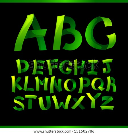 green paper crafting alphabets - stock vector