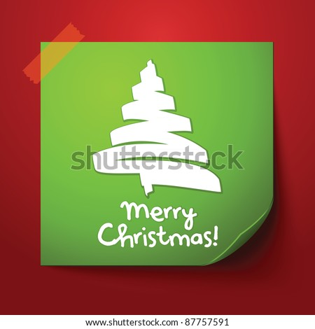 Green paper note with christmas design - stock vector