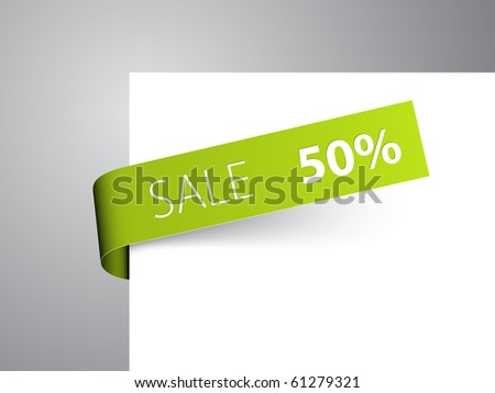 Green paper tag - Vector sale announcement - stock vector