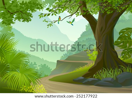 Green parrots in tropical rain forest   - stock vector