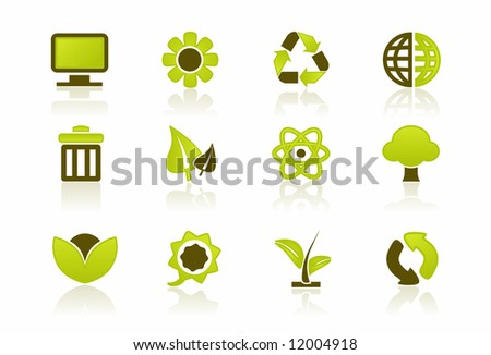 Green PC / IT Icon Set - a set of 12 environmental icons - stock vector