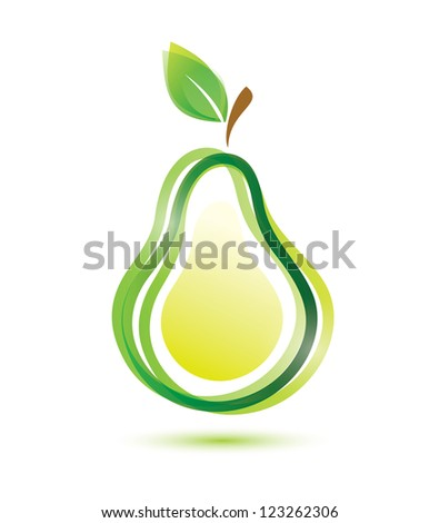 green pear icon, isolated vector symbol - stock vector