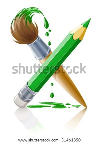 green pencil and brush with paint vector illustration isolated on white background - stock vector