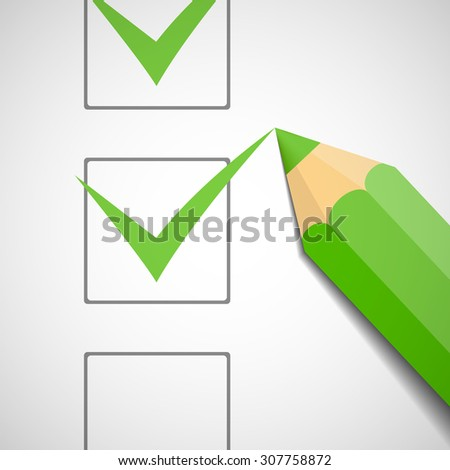 Green pencil puts a check in the document. Stock vector image. - stock vector