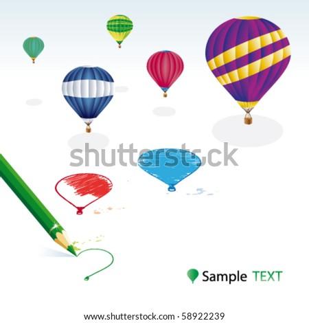 Green pencil with balloons - stock vector