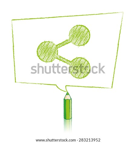 Green Pencil with Reflection Drawing Digital Share Icon in Skewed Rectangular Speech Bubble on White Background