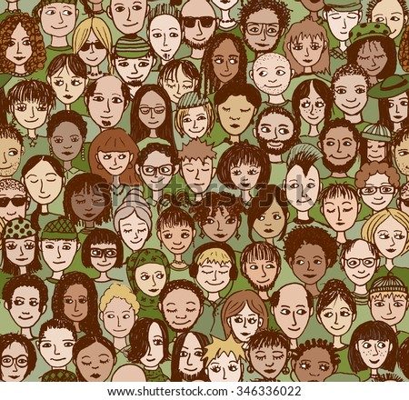 Green people - hand drawn pattern of a diverse group of people in green, for topics related to the environment and sustainability