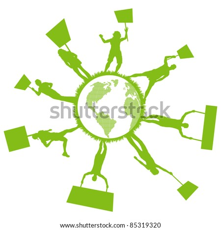 Green people protest, picket against pollution. Ecology world concept vector. - stock vector