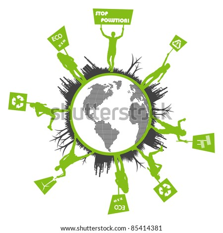 Green people protest, picket against pollution. Ecology world concept vector.