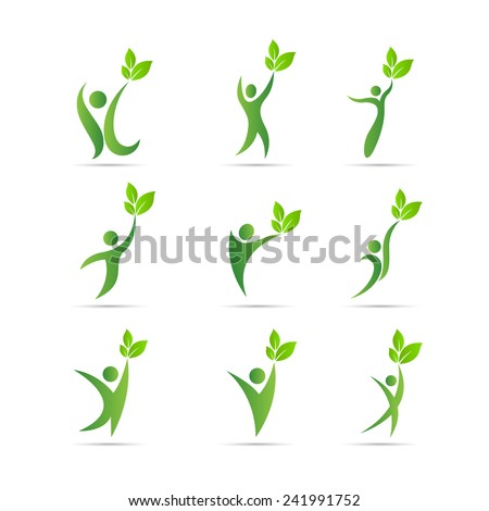 Green people vector design represents eco friendly concept. - stock vector