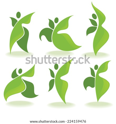 green people, vector ecological collection - stock vector