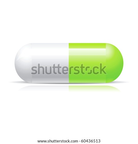 Green pill isolated on white - stock vector