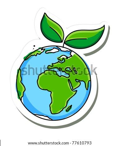 green planet icon - stock vector