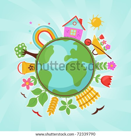 Green planet, spring illustration - stock vector
