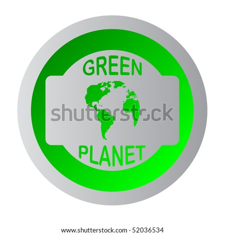 green planet sticker - stock vector
