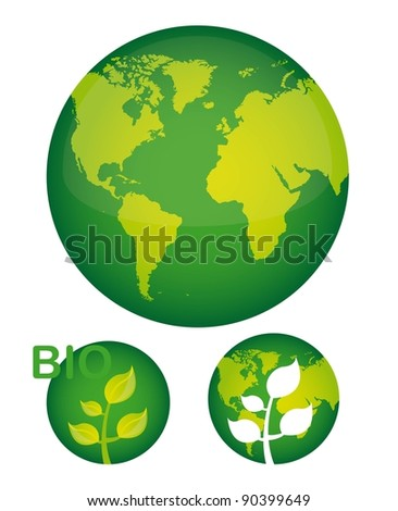 green planet with plant over white background. vector illustration - stock vector