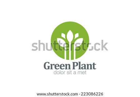 Green Plant Flower Logo design vector template. Medicine icon. Fresh Farm Organic product logotype. Natural Cosmetics concept. - stock vector