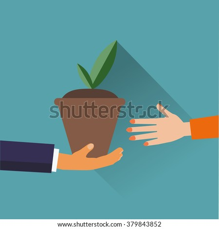 green plant in the pot flat design vector  illustration