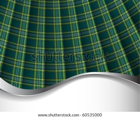 Green pleated tartan for background/horizontal - stock vector