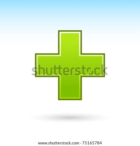 Green plus icon web 2.0 button with gray drop shadow on white background - stock vector