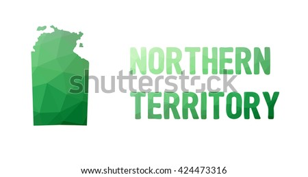 Green polygonal mosaic map of Northern Territory - political part of Australia, territory, NT; correct proportions - stock vector