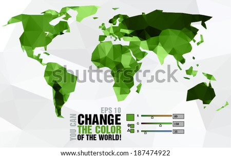 Green polygonal world map on light background - stock vector