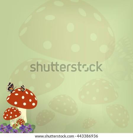 Green postcards with violets and mushrooms - Vector illustration.