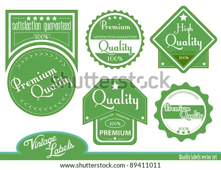 Green premium, high quality labels | stickers in vintage style. - stock vector