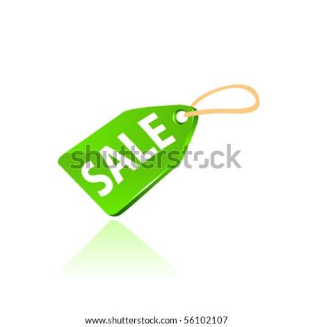 Green price tag. Vector - stock vector