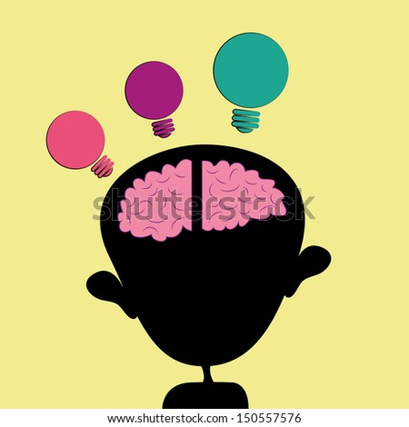 green purple and pink idea coming out from a childish pink mind - stock vector