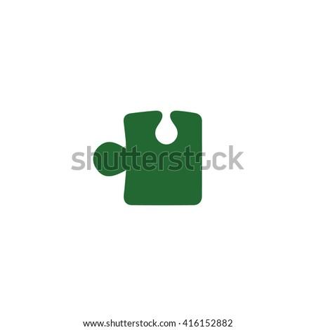 Green puzzle vector icon illustration. - stock vector
