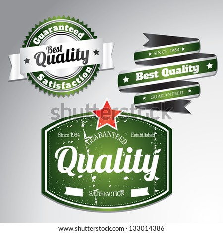 green quality labels with removable grunge effect in retro vintage style - stock vector