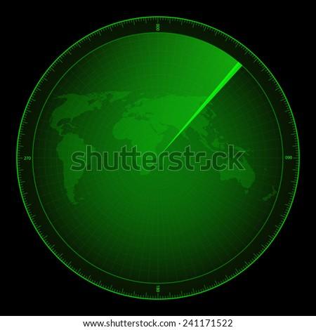 green radar monitor - stock vector