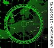Green radar screen over square grid lines and map of Europe territory, vector - stock photo
